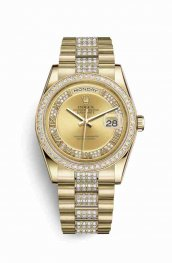 Rolex Day-Date 36 18 ct oro amarillo 118348 Champagne-colour Diamantes Dial Reloj