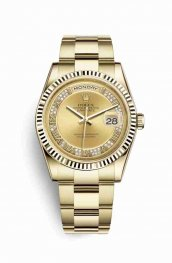 Rolex Day-Date 36 18 ct oro amarillo 118238 Champagne-colour Diamantes Dial Reloj
