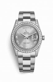Rolex Day-Date 36 18 ct Oro blanco lugs Diamantes 118389 Rhodium Dial Reloj